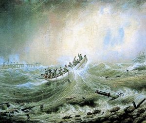 """A wreck off the South Pier, South Shields, 1861"", by John Scott . The painting has been on display in the South Shields Museum and Art Gallery since the late 19th century."
