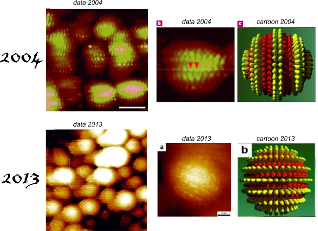 Stripy nanoparticles, 2004-2013; 2004 images are reproduced from Jackson et al, Nature Materials, 3, 330 ; 2013 images are reproduced from Ong et al, ACS Nano, 2013 10.1021/nn402414b