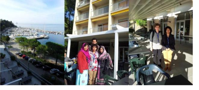 (Left) A view from ICTP main building, (Middle) with best presentation award winning students from Pakistan, (Right) with Galina, a physicist working in Russia and Spain