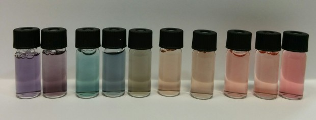 Gold nanoparticles of different sizes and shapes (synthesis and picture by Joan Comenge).